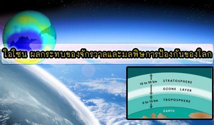 โอโซน ผลกระทบของจักรวาลและมลพิษการป้องกันของโลก